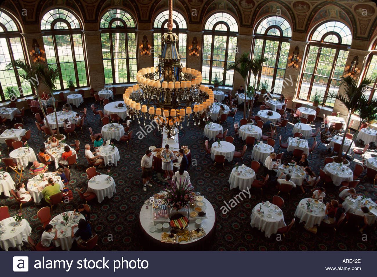 Palm Beach Florida The Breakers Italian Renaissance Style Five Star Hotel Circle Dining Room Breakfast Buffet