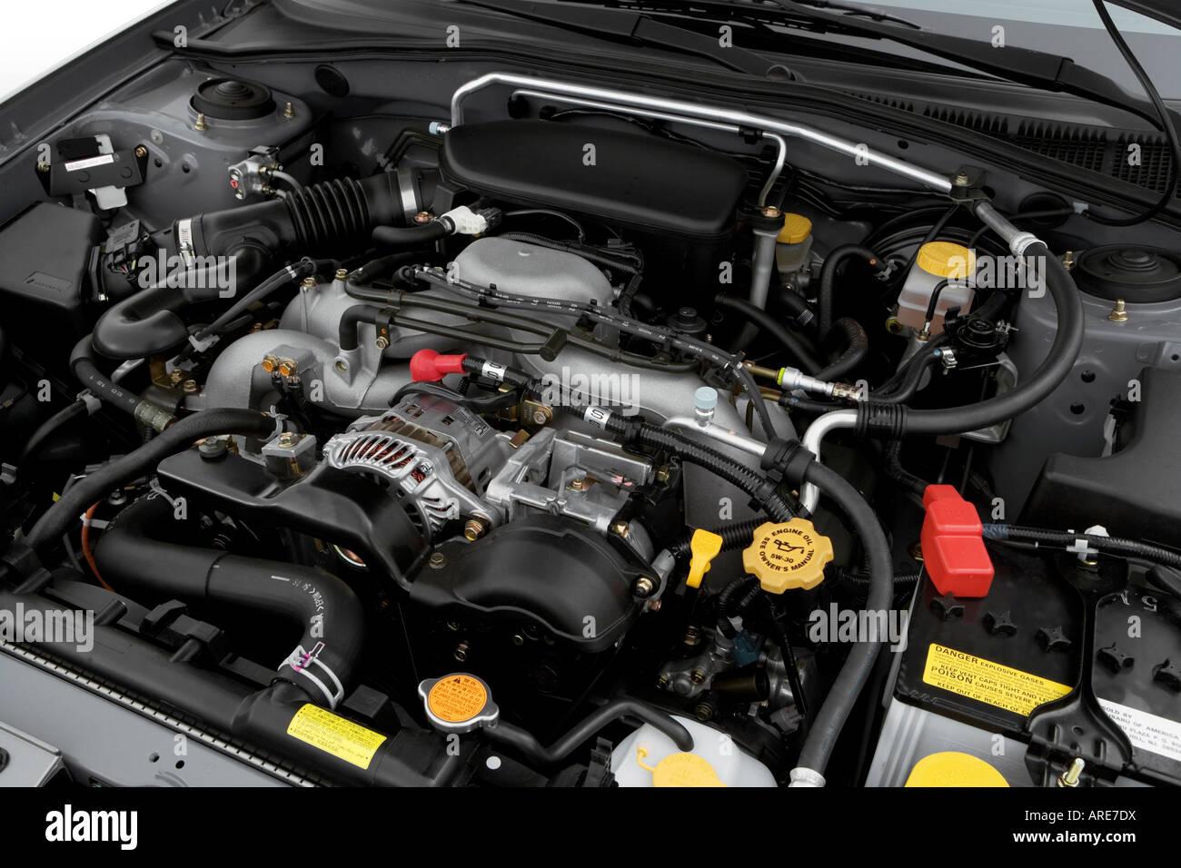 2006 subaru impreza 2.5i in gray - engine stock photo, royalty