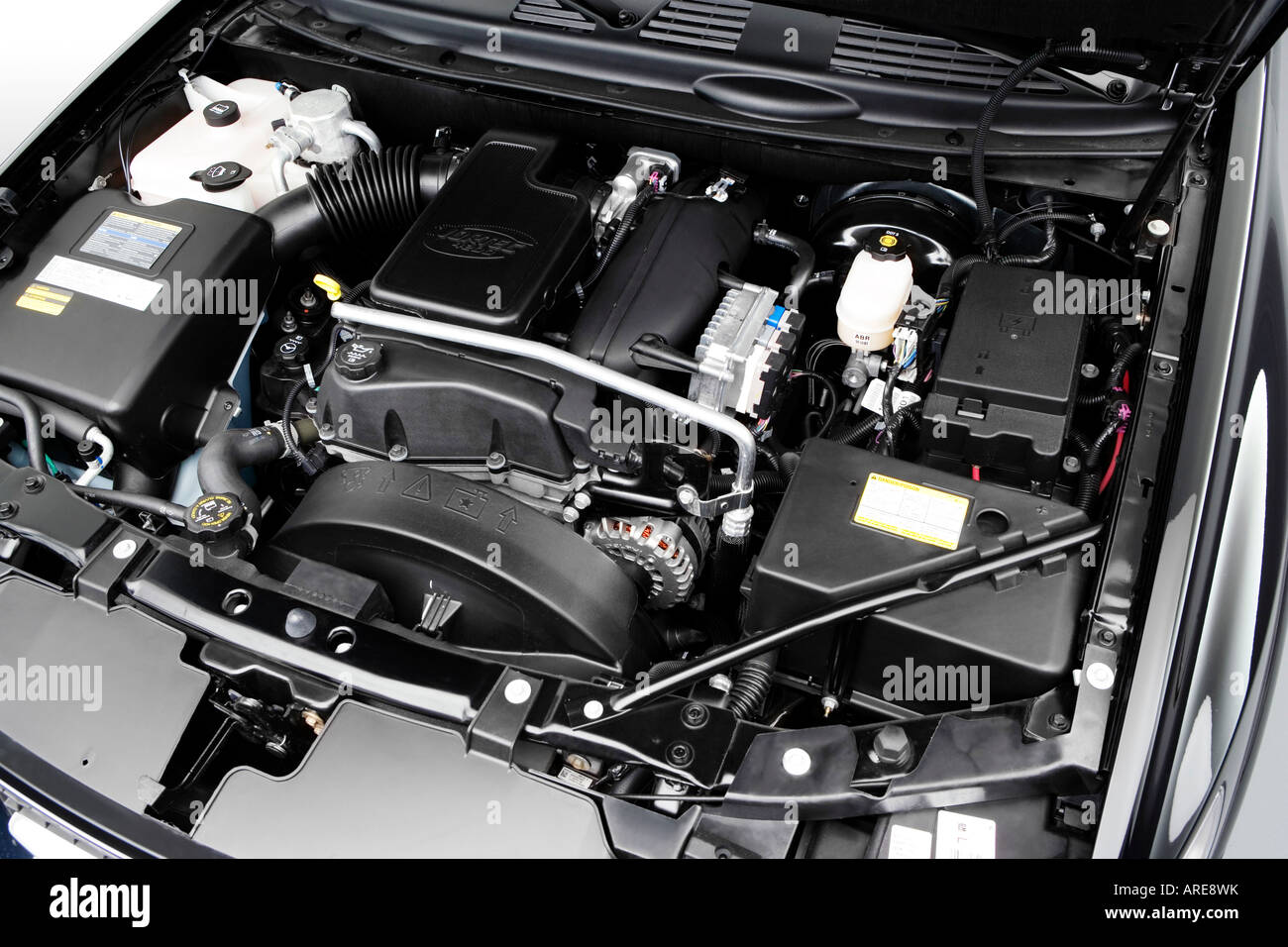 2005 saab 9 7x linear in black engine stock photo