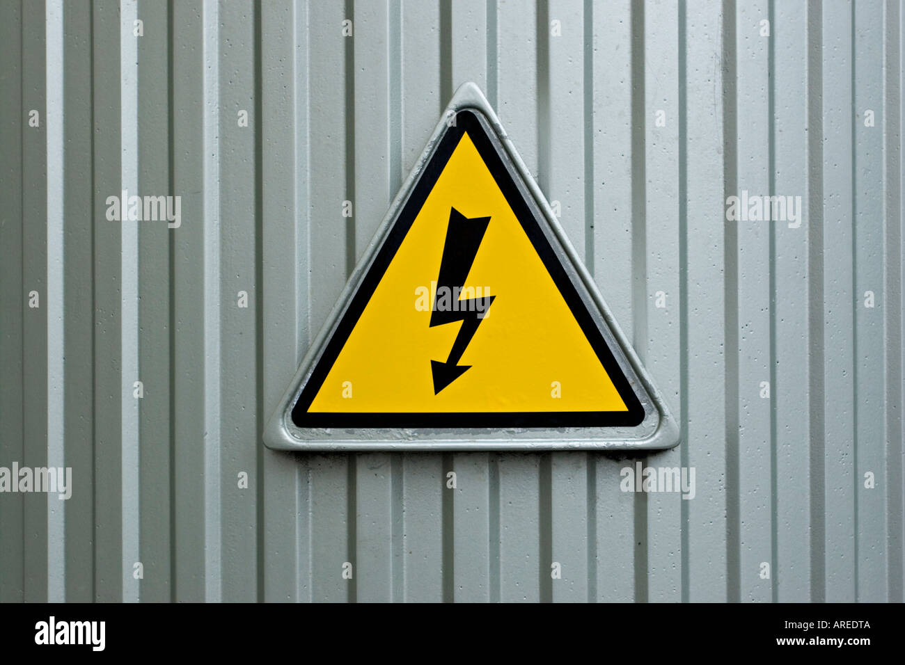 Warning sign with electricity lightning bolt Stock Photo, Royalty ... for Electricity Lightning Bolt  55dqh