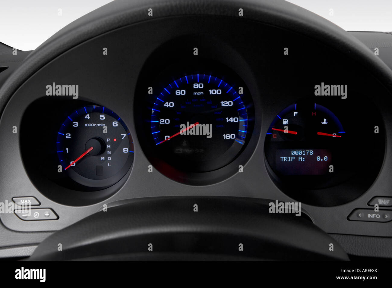 Acura tl 2006 2006 acura tl in black speedometer tachometer stock photo