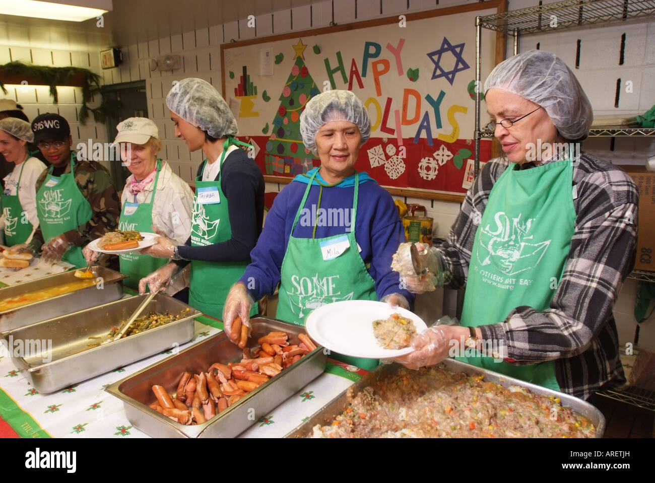 Stock Photo   USA Washington DC Community Volunteers At A Soup Kitchen