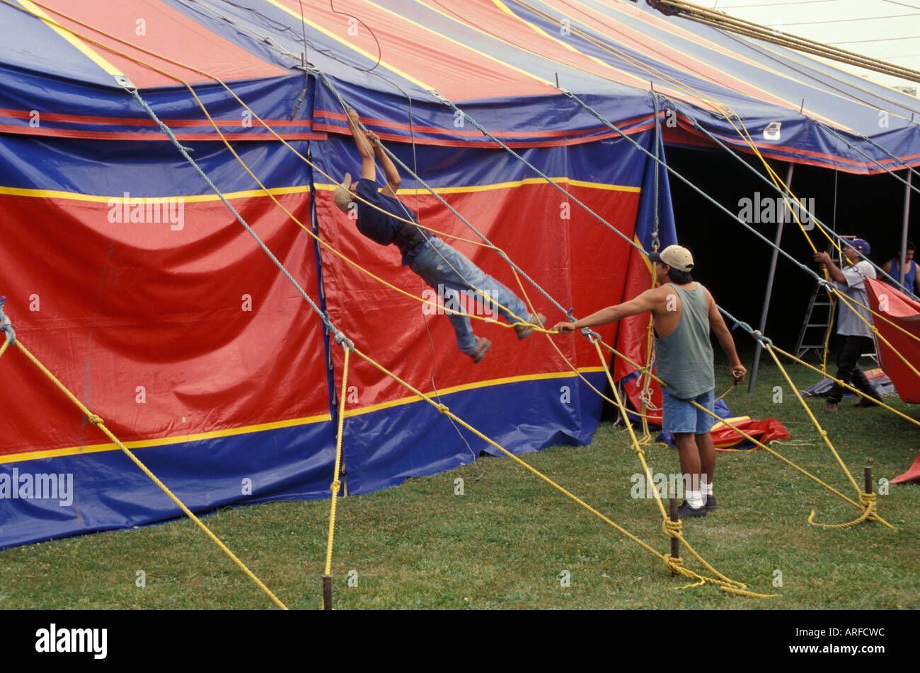 Kelly Miller Circus USA America American roustabouts adjust big top canvas ropes & Kelly Miller Circus USA America American roustabouts adjust big ...