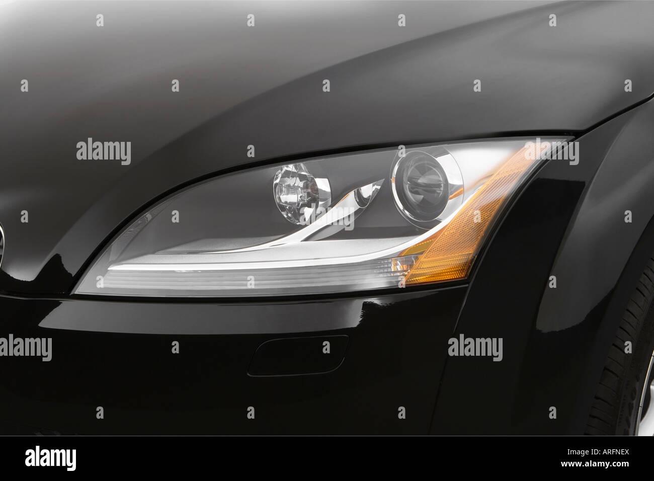 2008 audi tt 2.0t in black - headlight stock photo, royalty free