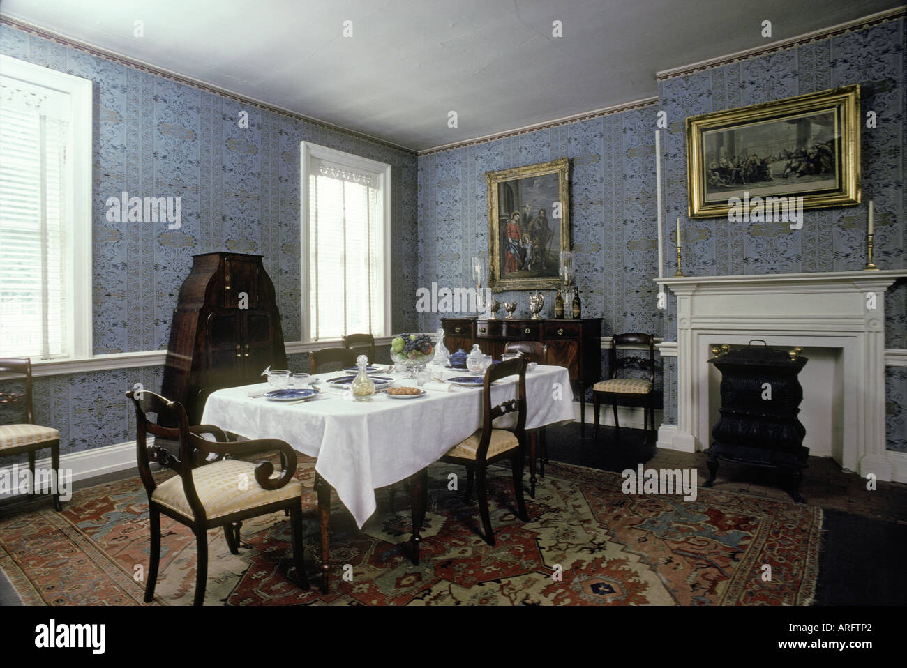 Ambridge Pennsylvania Harmony Society Formal Dining Room Interior Table Fireplace