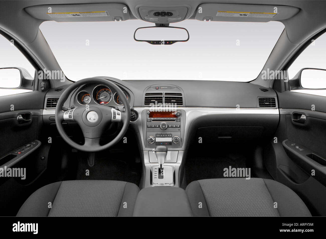 2007 saturn aura xr in silver dashboard center console gear shifter view