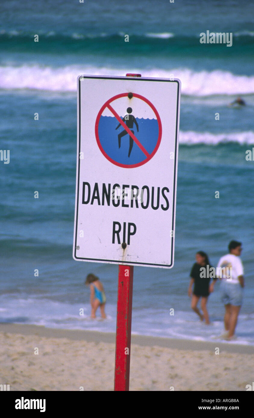 Dangerous Rip Warning Sign Bondi Beach Sydney Nsw Australia Stock Photo Royalty Free Image