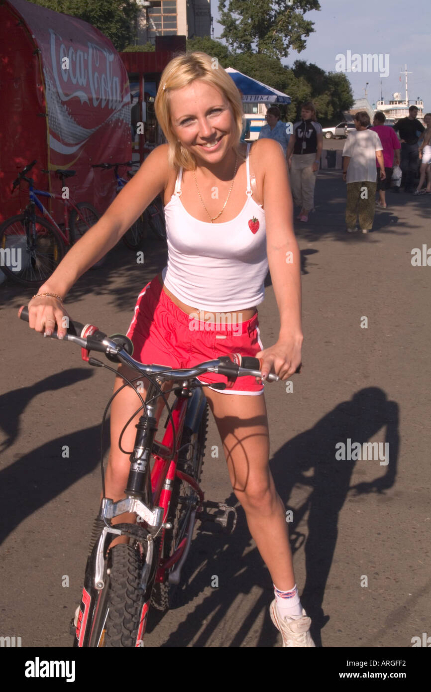 Young Woman Riding Bicycle in Krasnoyarsk Siberia Russia ...