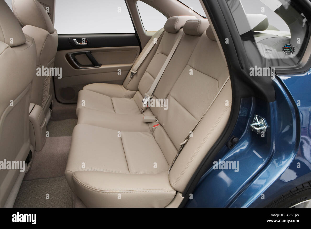 2008 subaru legacy 2.5 gt limited in blue - rear seats stock photo
