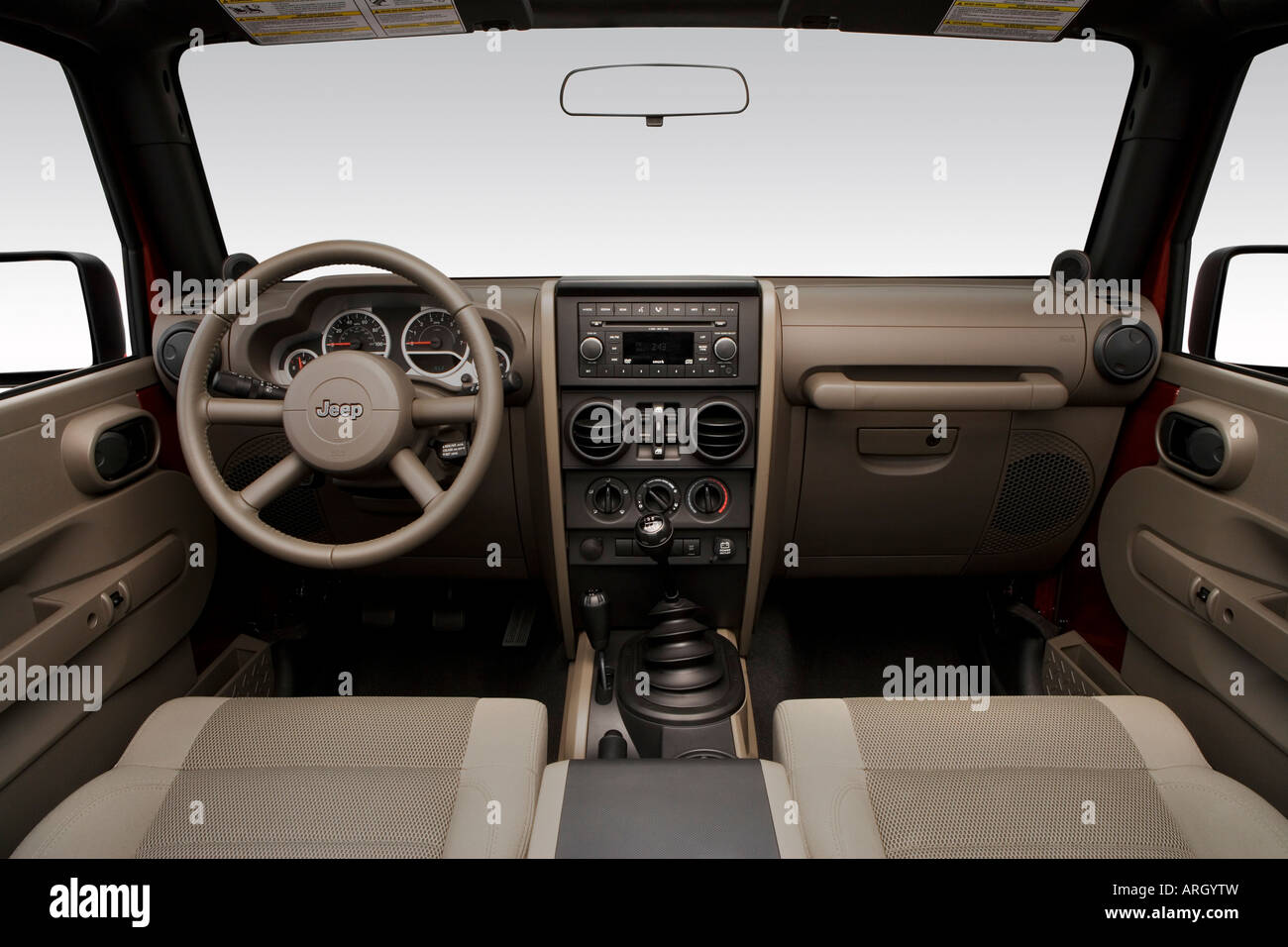 2007 jeep wrangler unlimited sahara in red dashboard center console gear shifter view