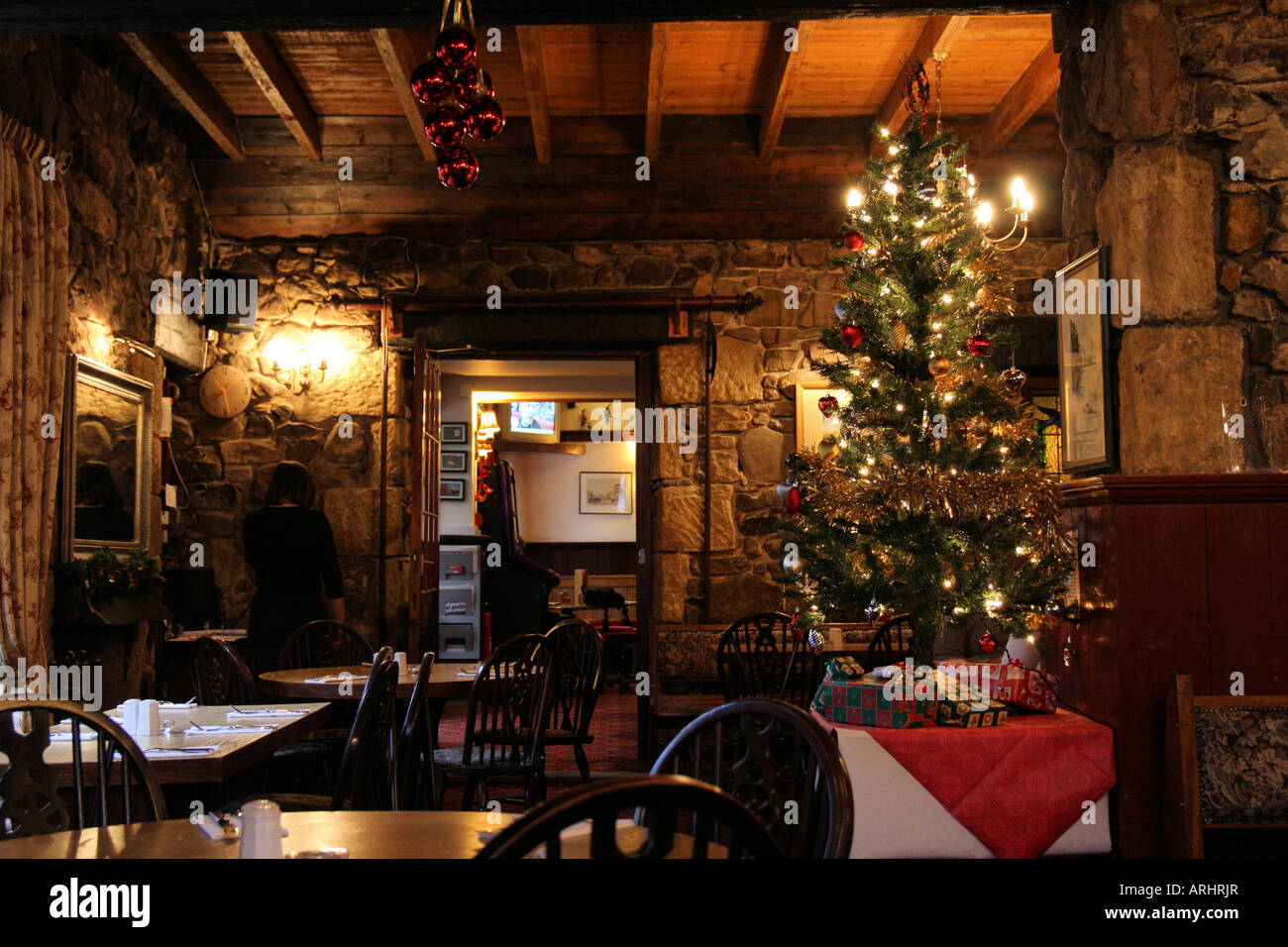 Christmas decorations in a scottish restaurant stock photo
