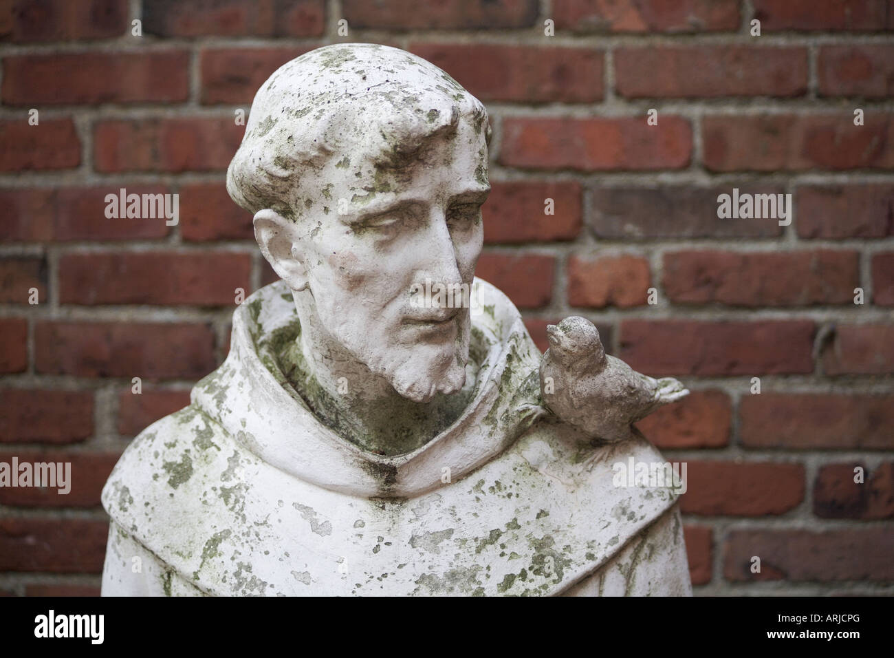 Statue Of St Francis Of Assisi. St Francis Garden, The Old North Church,