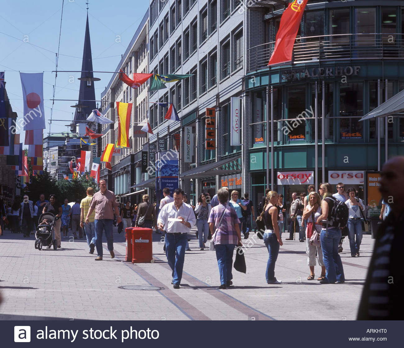 the spitalerstra e one of the biggest shopping streets in hamburg stock photo royalty free. Black Bedroom Furniture Sets. Home Design Ideas