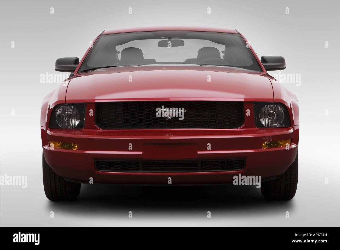 2008 ford mustang v6 deluxe in red low wide front stock image