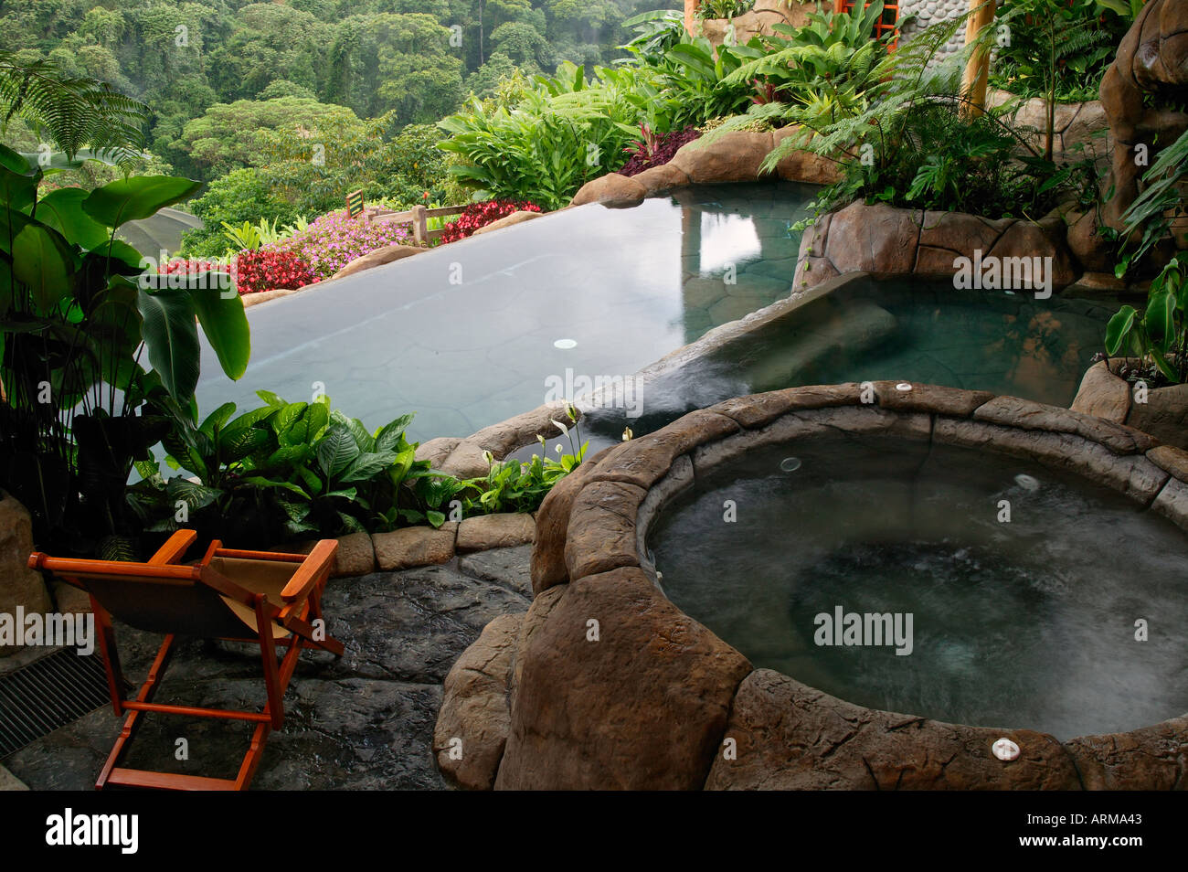 The Swimming Pool At The La Paz Waterfall Gardens And Peace Lodge Stock Photo Royalty Free