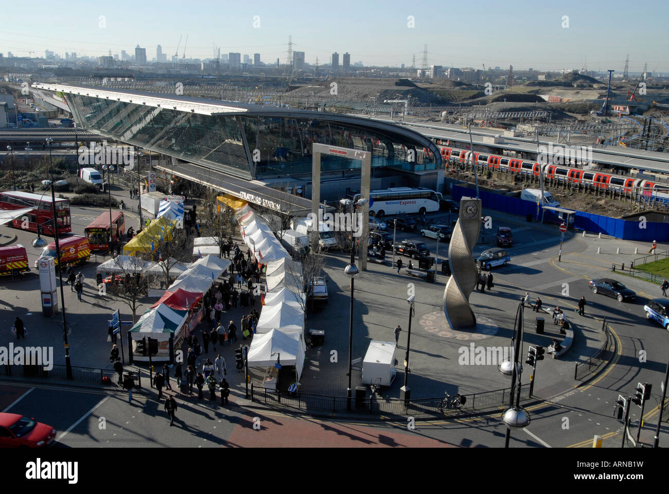 UK Stratford Station With Olympic Park Construction In Background