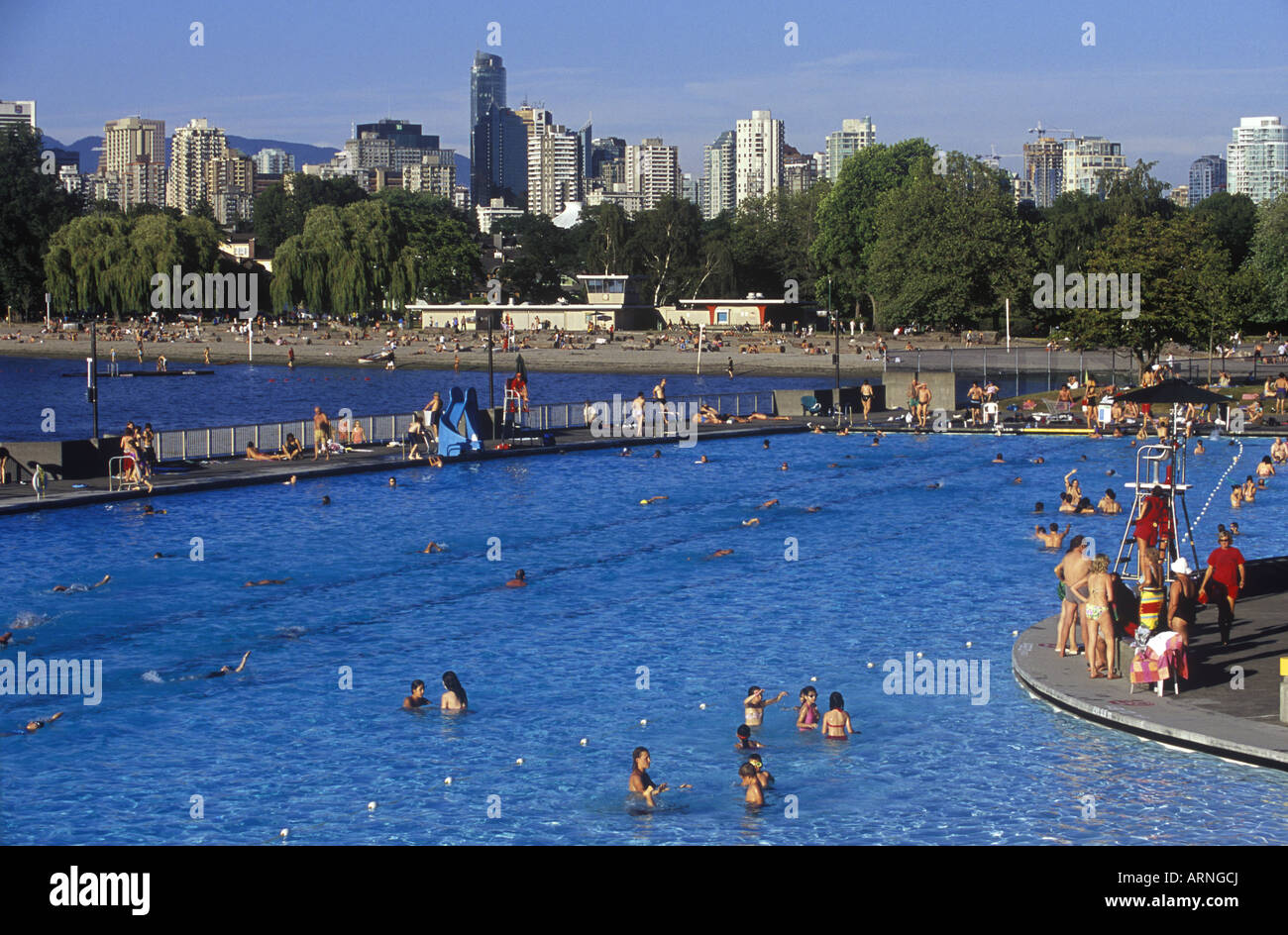 People Enjoying The Kitsilano Outdoor Swimming Pool