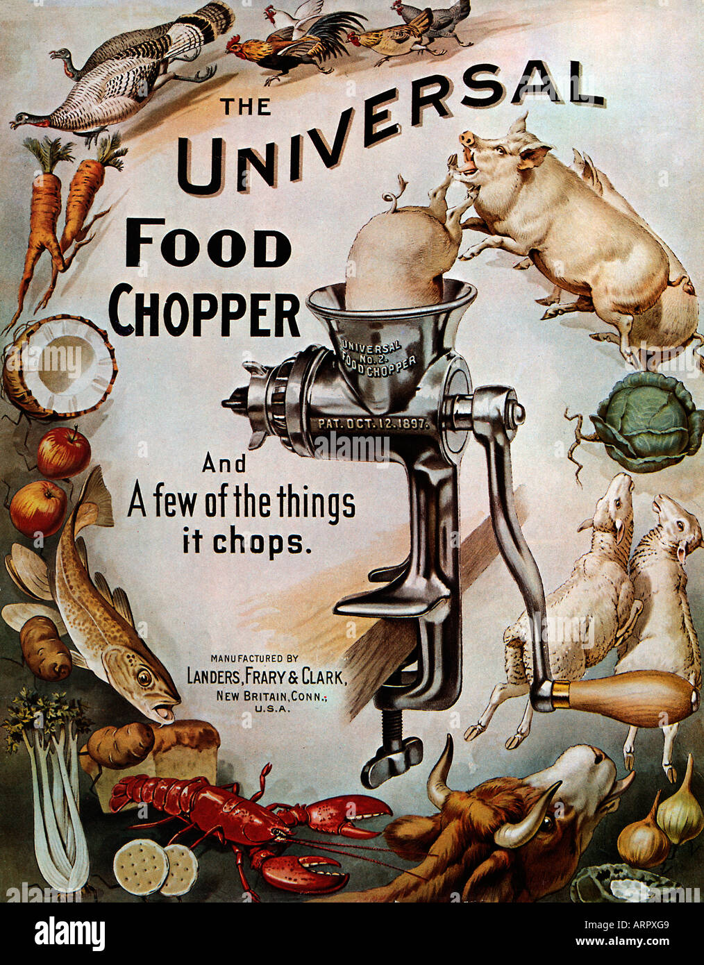 Universal Food Chopper Late 19th Century Advert For The