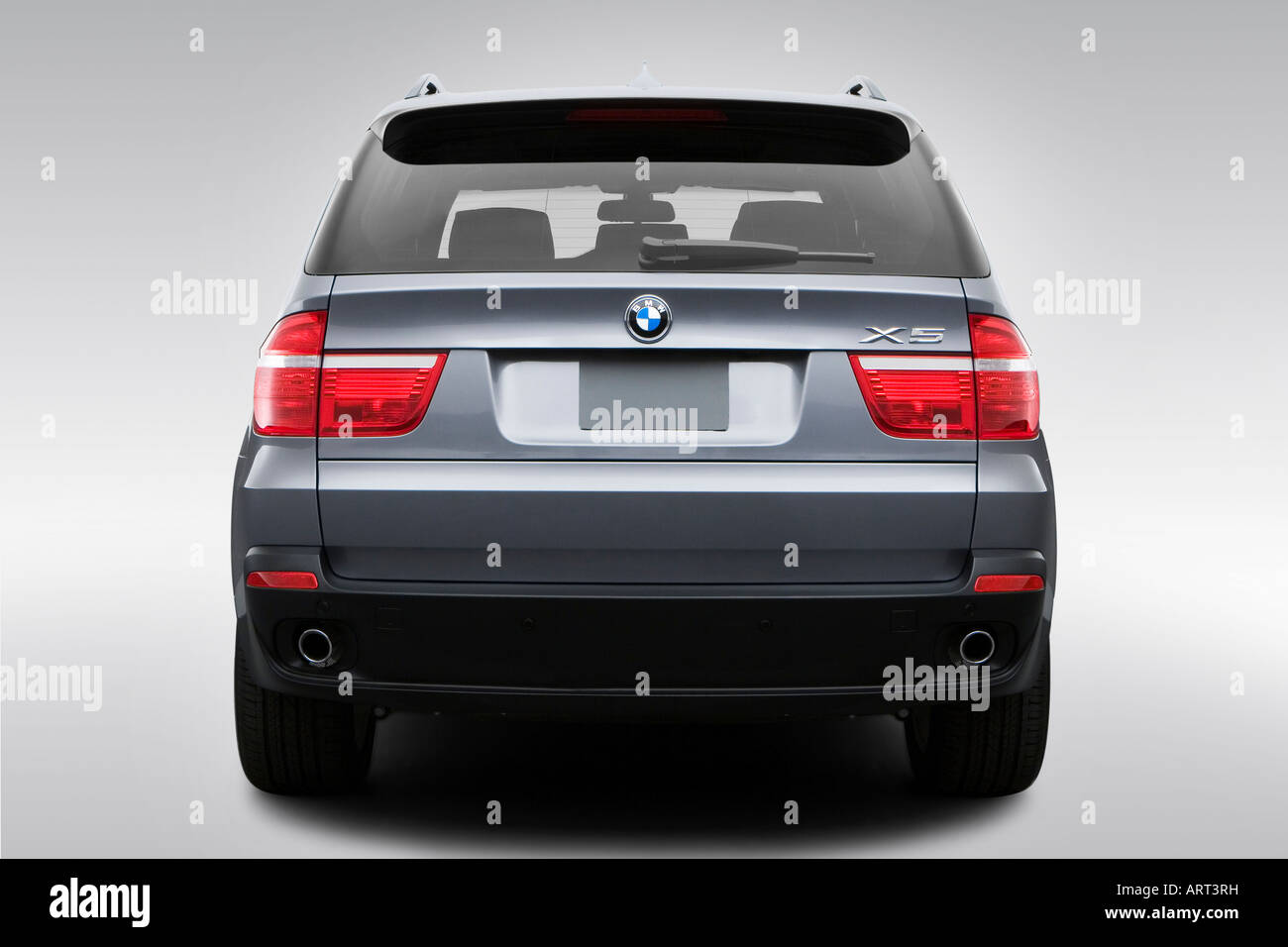 2008 bmw x5 3.0si in gray - low/wide rear stock photo, royalty