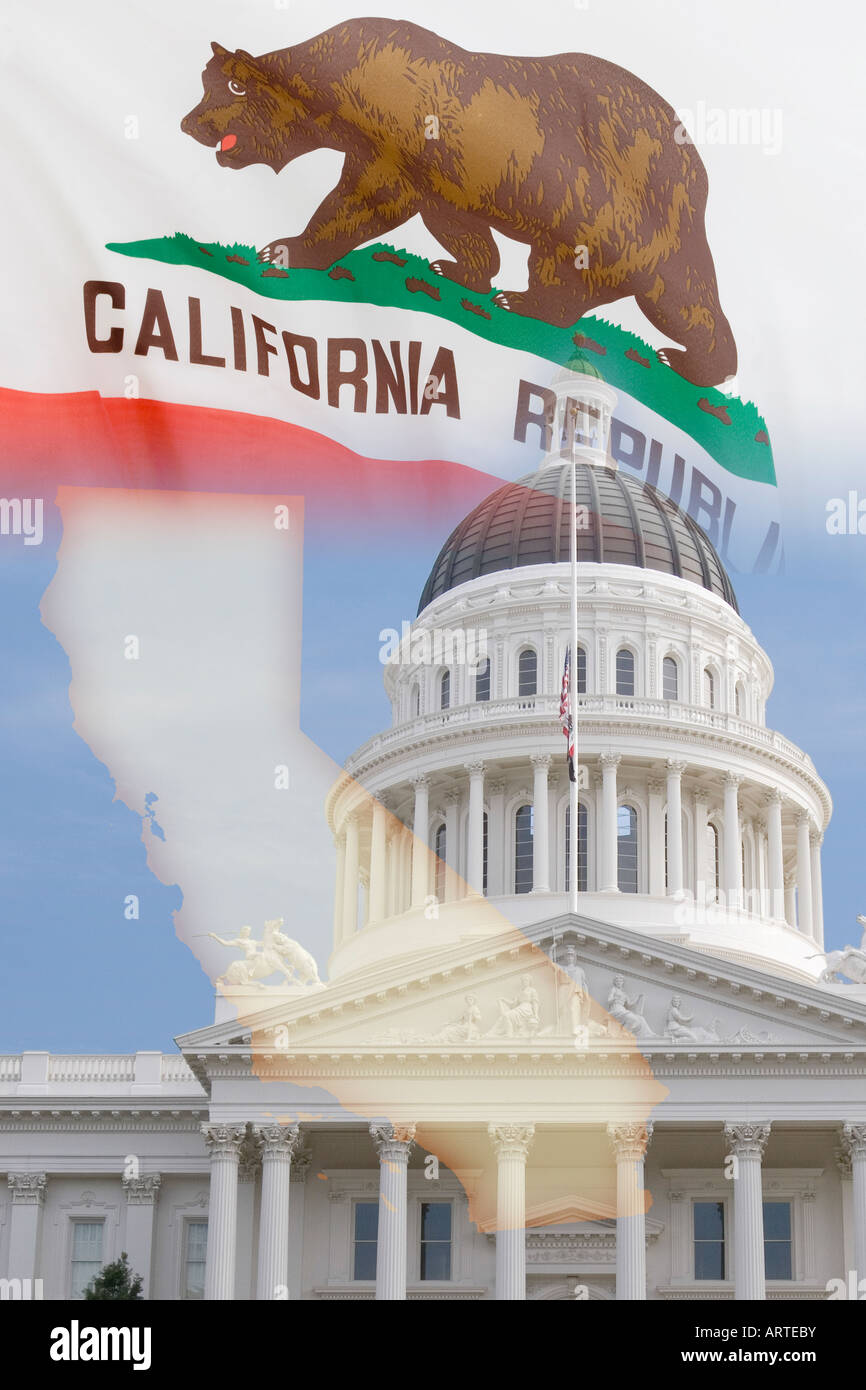 California state symbol bear stock photos california state montage of california with state capitol building dome in sacramento state flag and map buycottarizona