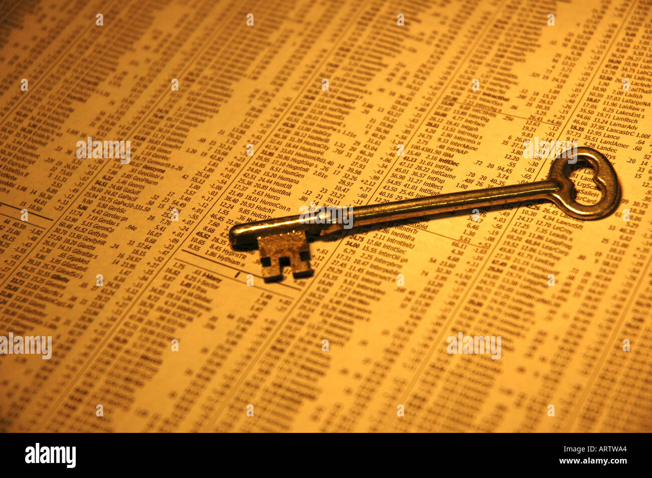 C Stock Quote Key To The Market  Old Key Sitting On Newspaper Stock Quotes