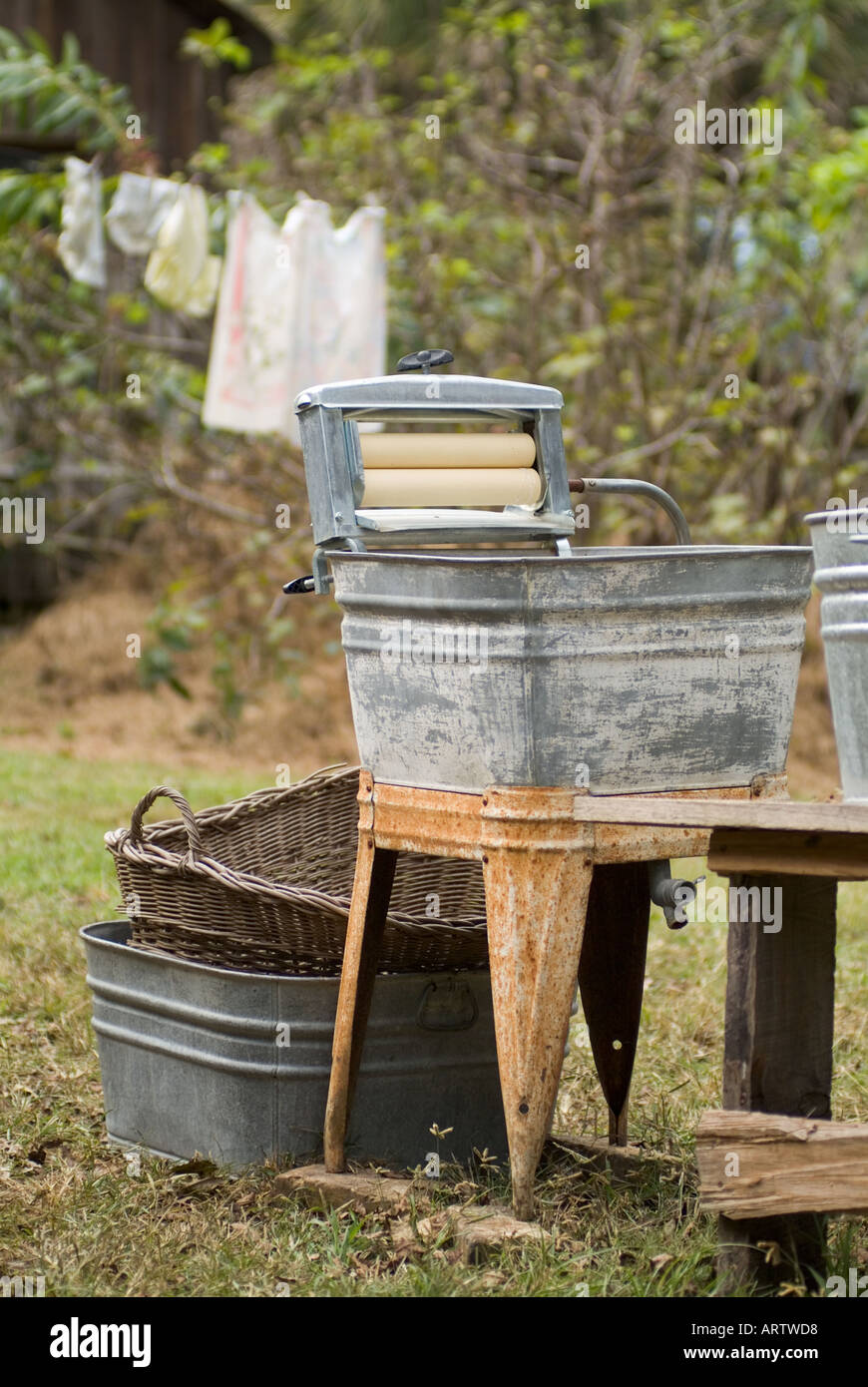 stock photo laundry washer old fashioned washtub wash tub dudley farm historic state park newberry florida antiques antique