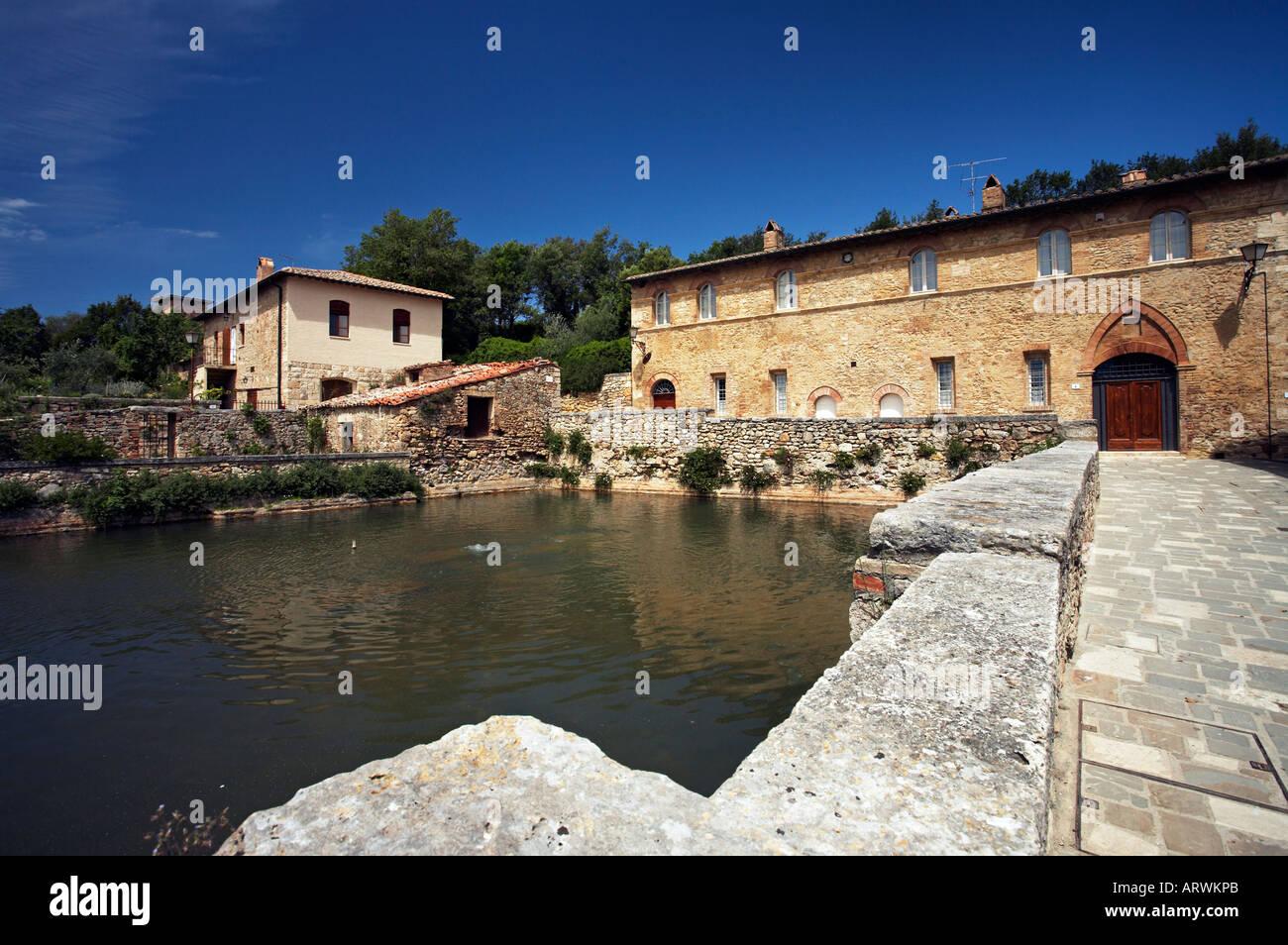 Thermal baths of Bagno Vignoni near Pienza Val d Orcia Tuscany Italy Stock Ph...