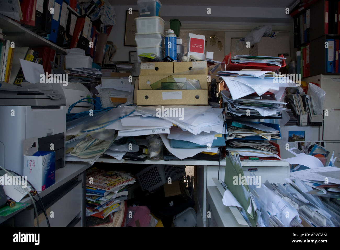 An untidy office stock photo royalty free image 16136635 alamy - Office photo ...