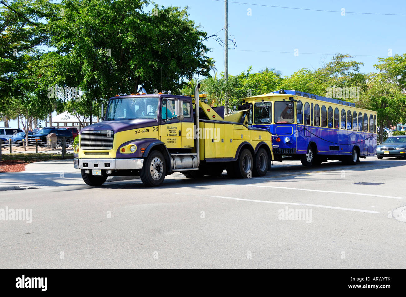 Broken down bus being towed by a tow truck for repair Stock Photo, Royalty Free Image: 16137810 ...