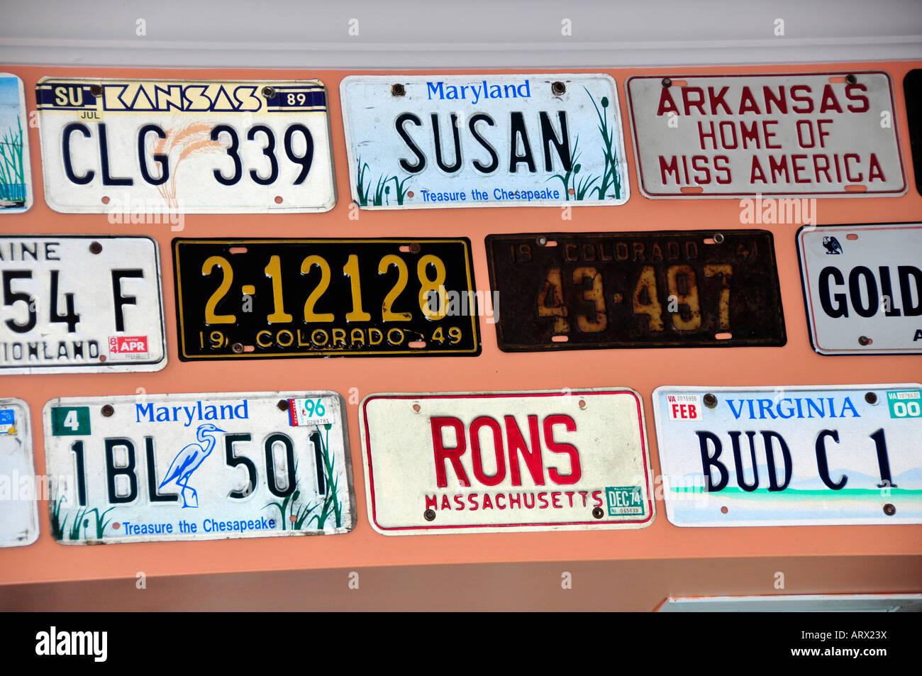 Old auto license plates on wall at bar at Key West Florida FL US ...
