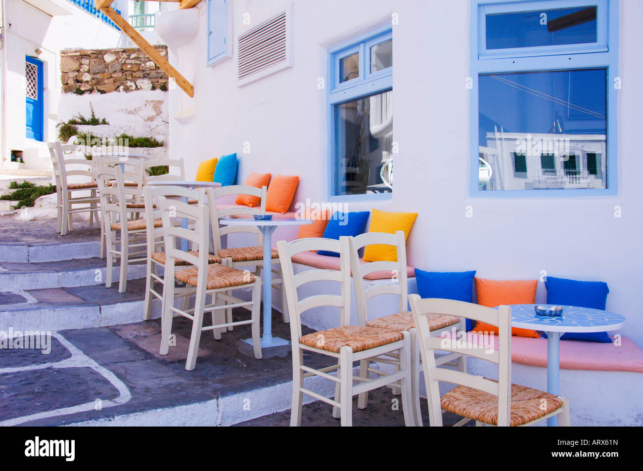 Tables and chairs add color design to restaurants