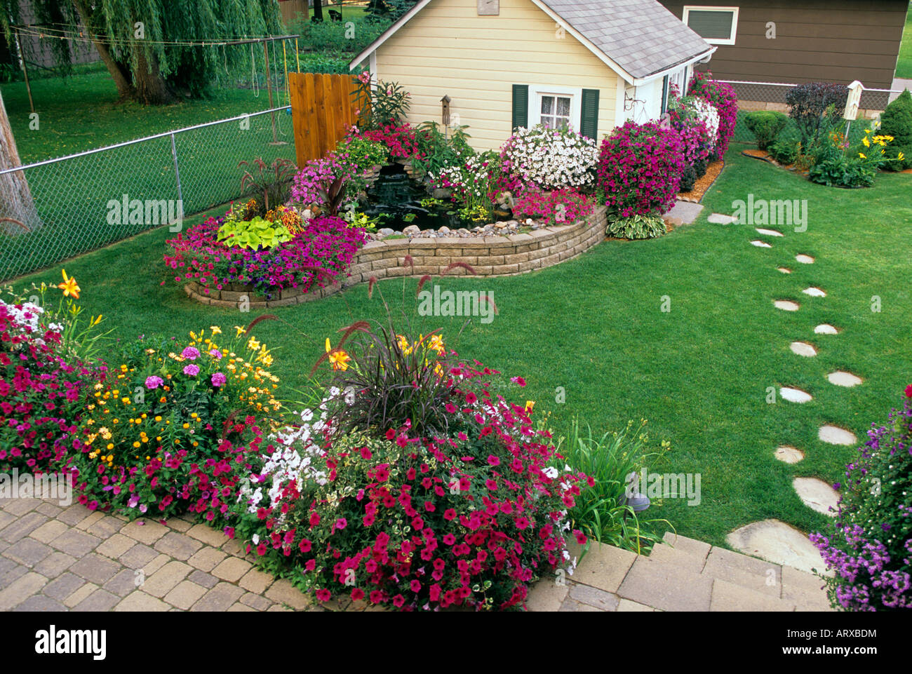 backyard garden in minnesota includes potting shed small pond