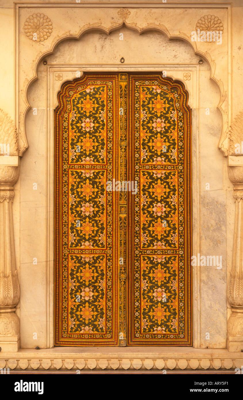 ornate door junagarh fort bikaner rajasthan india stock