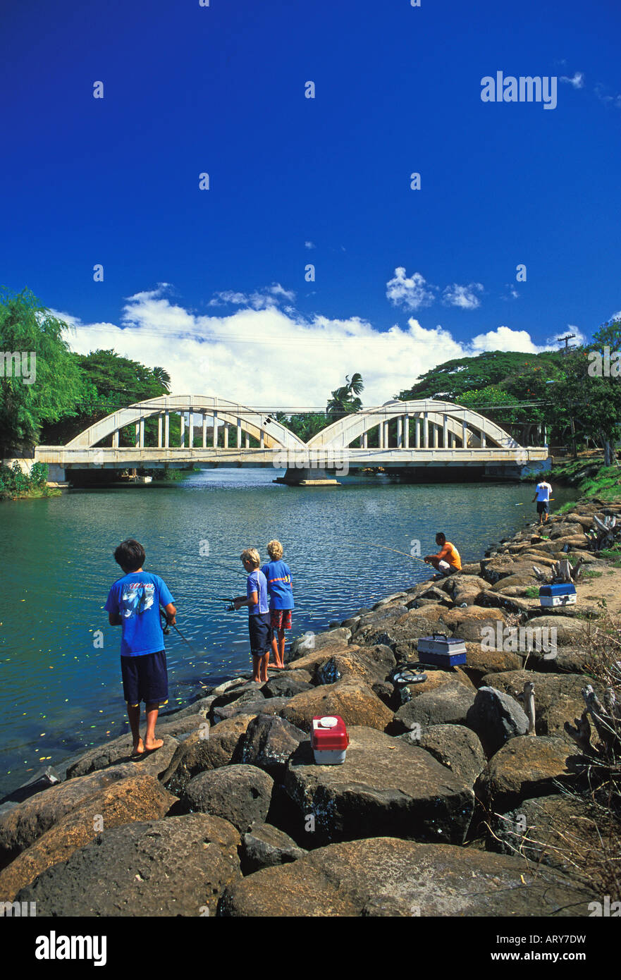 Children fishing in anahulu river historic town of haleiwa for Shore fishing oahu