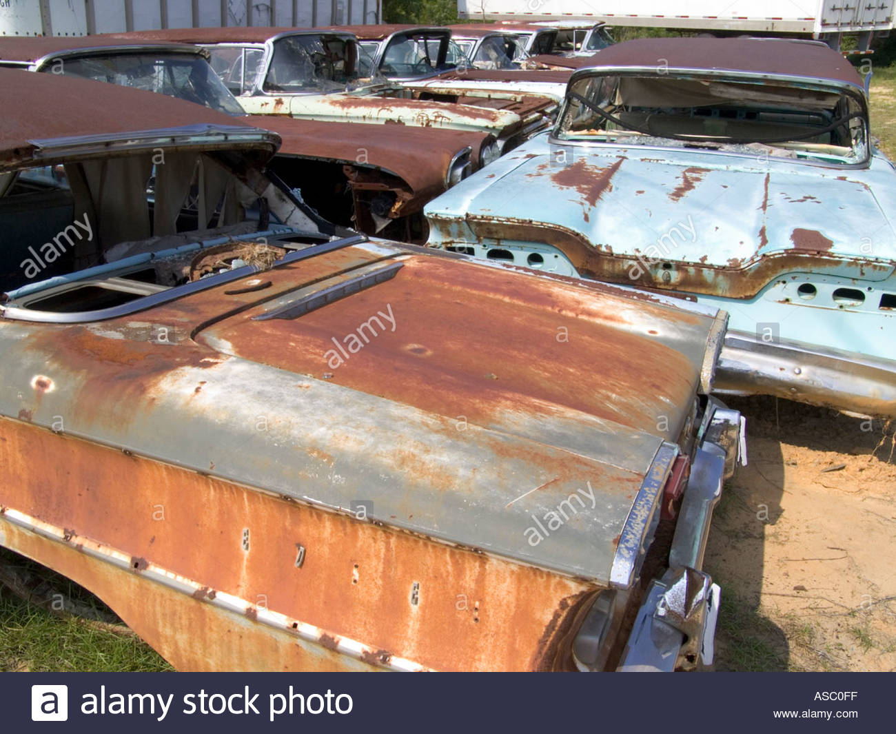 classic cars sitting in a junkyard Stock Photo, Royalty Free Image ...
