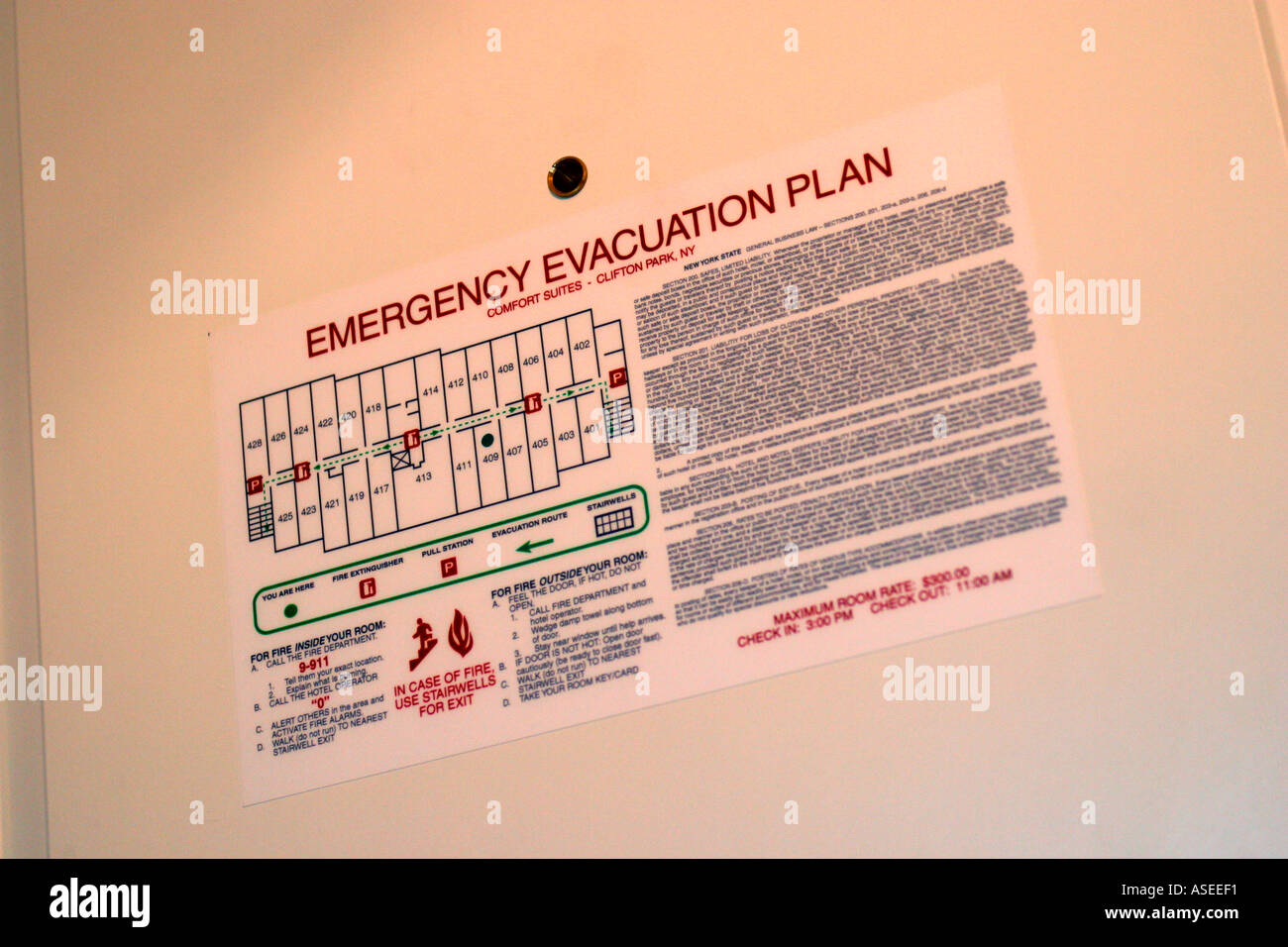 Emergency Evacuation Plan Sign In Hotel Room Stock Photo