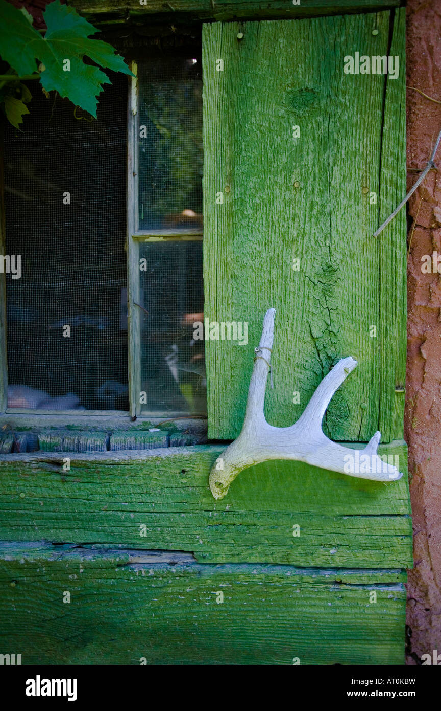An antler works as a door handle on a rustic screen door at an antler works as a door handle on a rustic screen door at buckskin bills vtopaller Choice Image