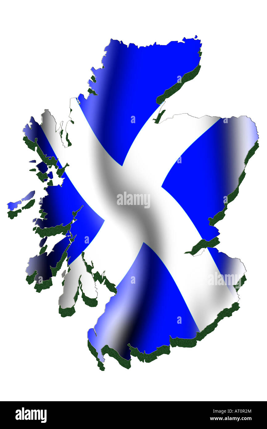 outline map and flag of scotland stock photo royalty free image