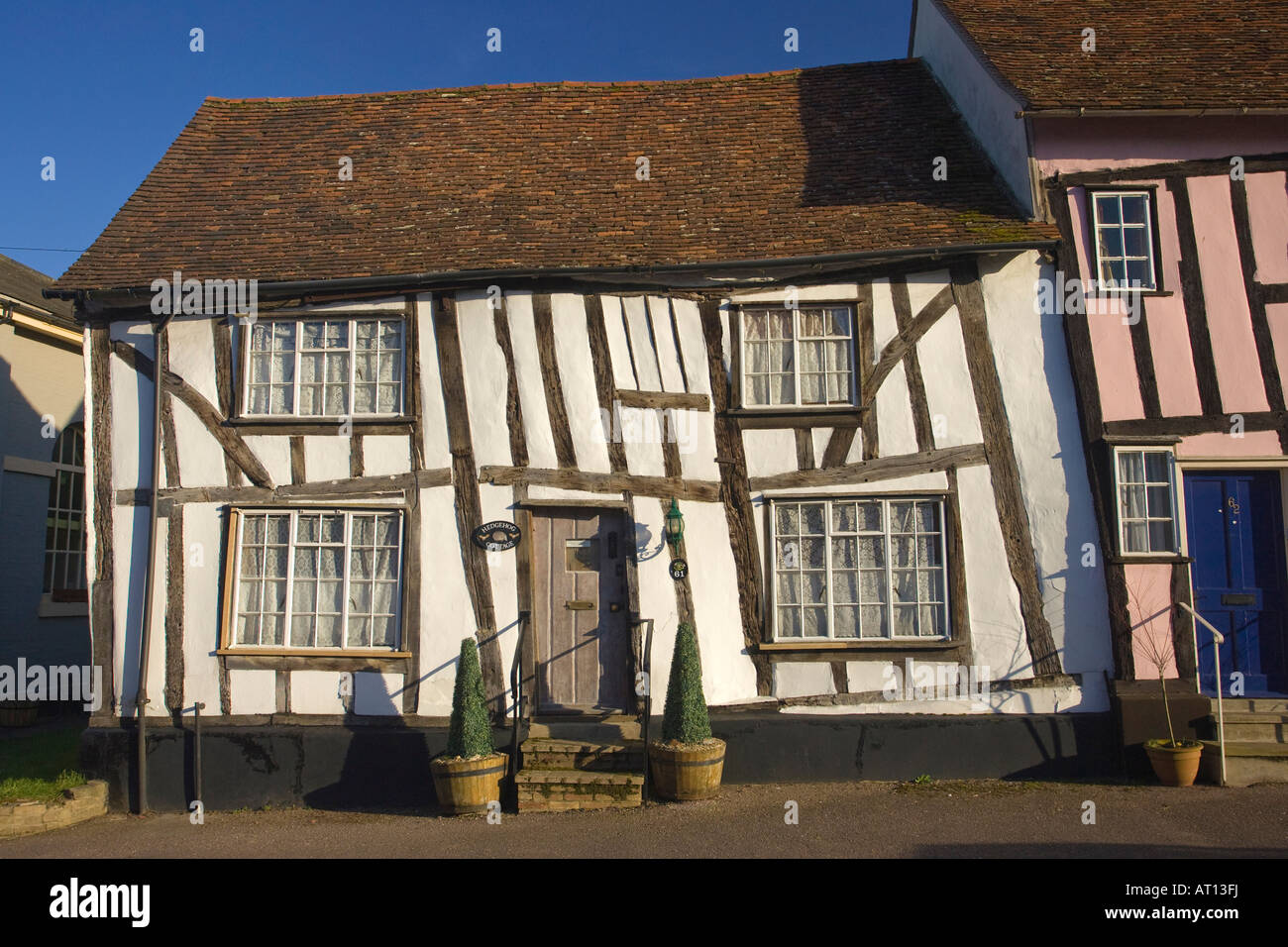 stock photo traditional timber frame house in high street in lavenham suffolk uk 2008