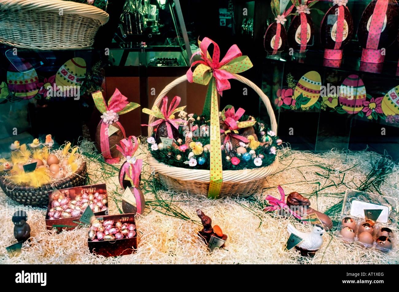 PARIS France, Easter Basket, Window Display in Store \