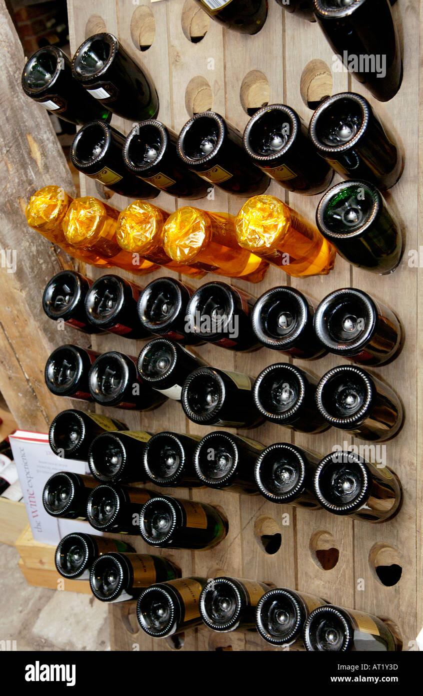 Champagne rack in the wine cellar of Hotel du Vin Bristol England UK ...