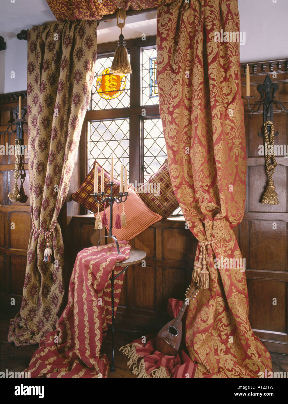 Damask curtains living room - Damask Curtains In Different Patterns At Lattice Window With Stained Glass Panel In Country Living Room