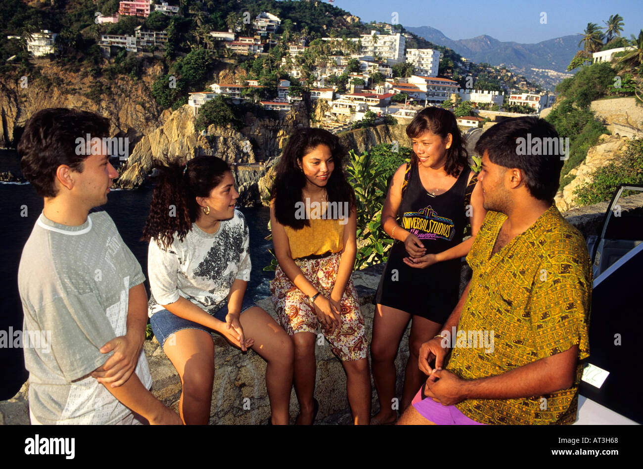 Mexican Teens Talking In A Group At Acapulco Mexico Stock Photo Royalty Free Image 5285223