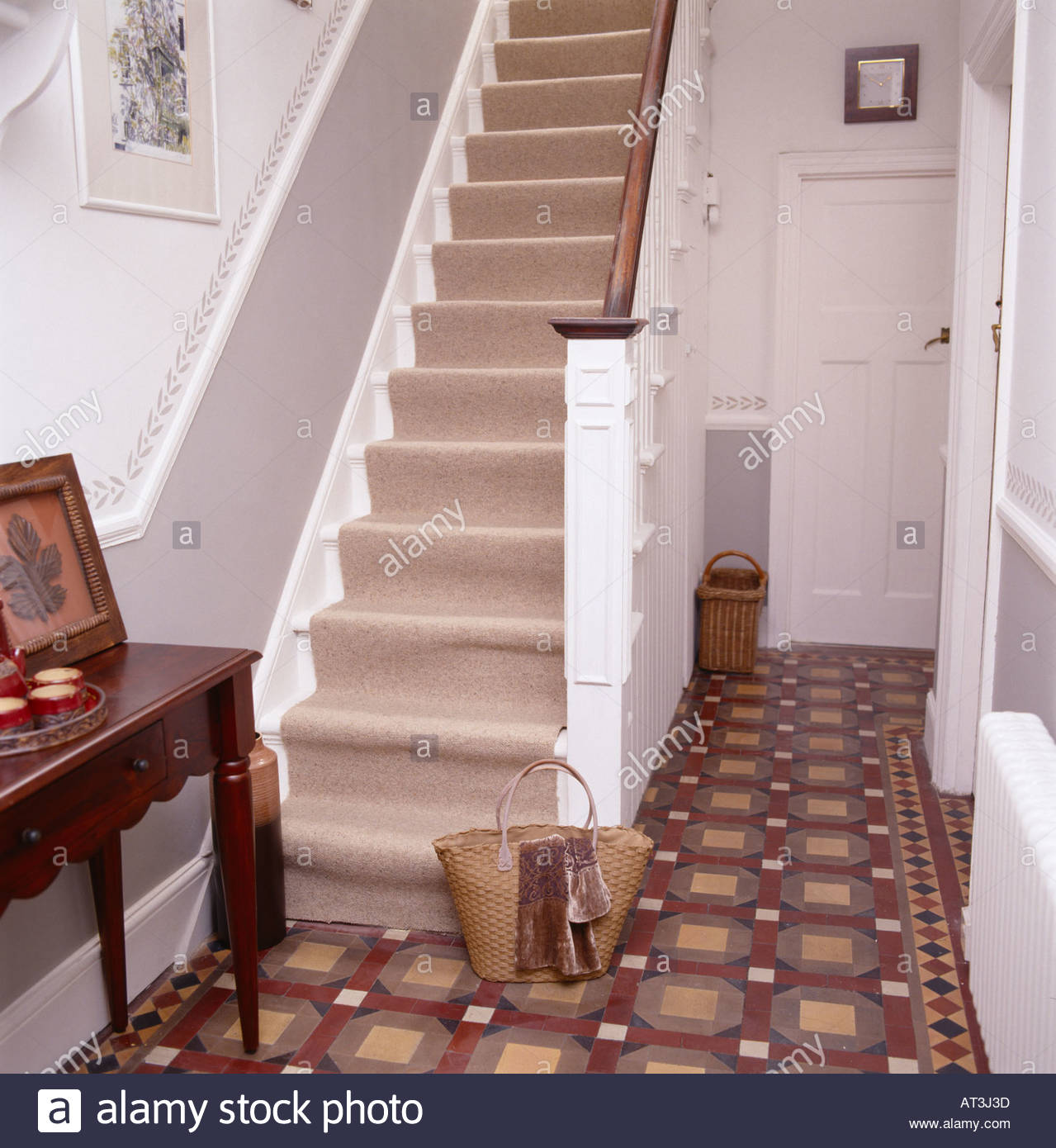 Hallway In Victorian House With Stair Runner And Side