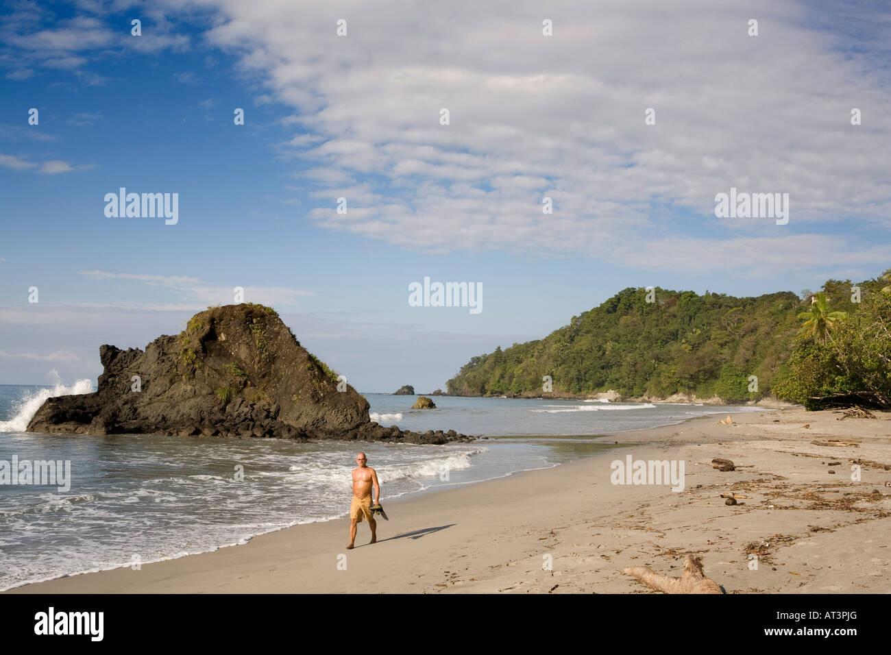Costa Rica Quepos Playa Espadilla Norte Beach American Expat Resident Taking Early Morning Walk