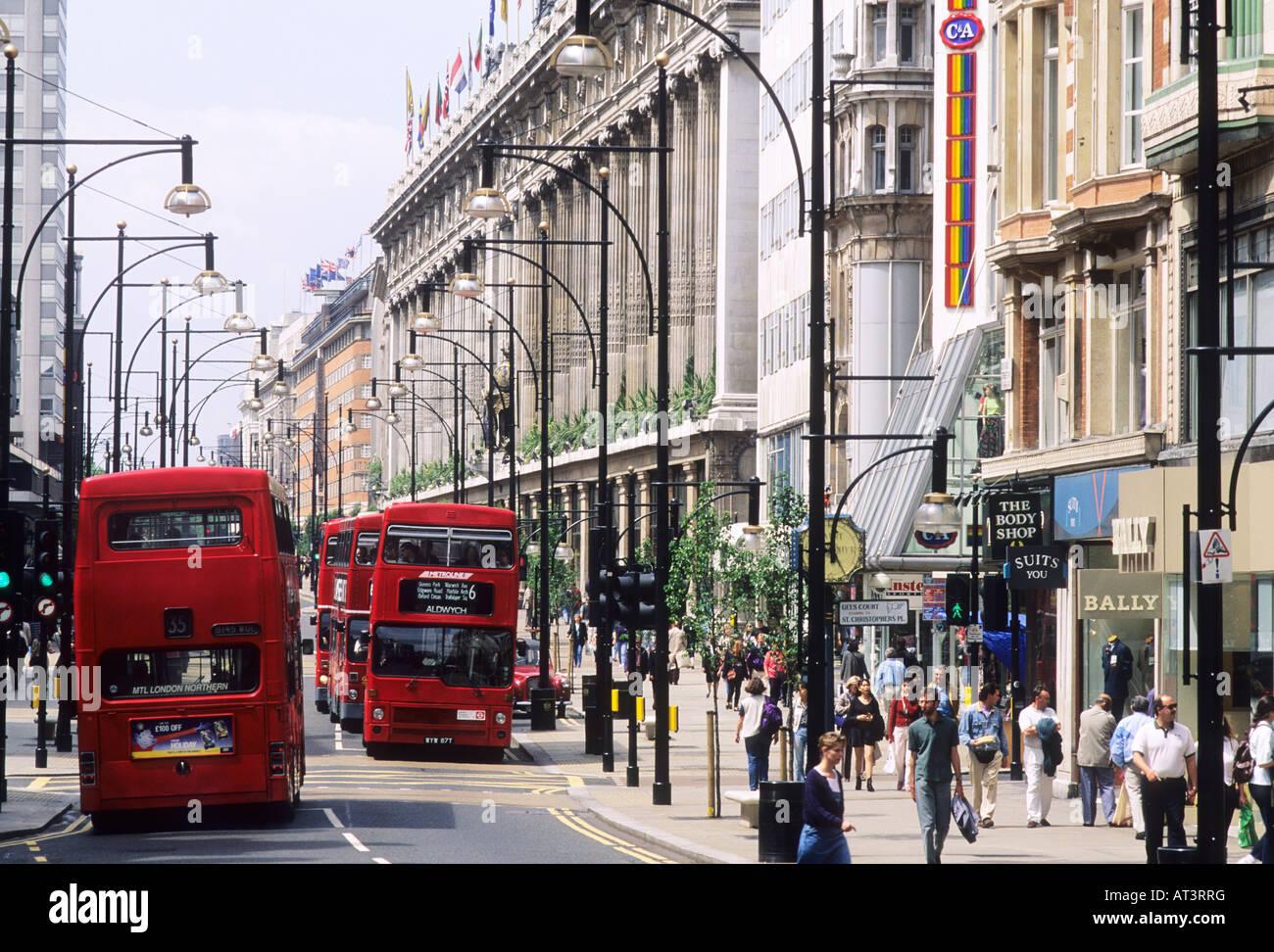 Oxford Street Red Busses Selfridges London West End ...