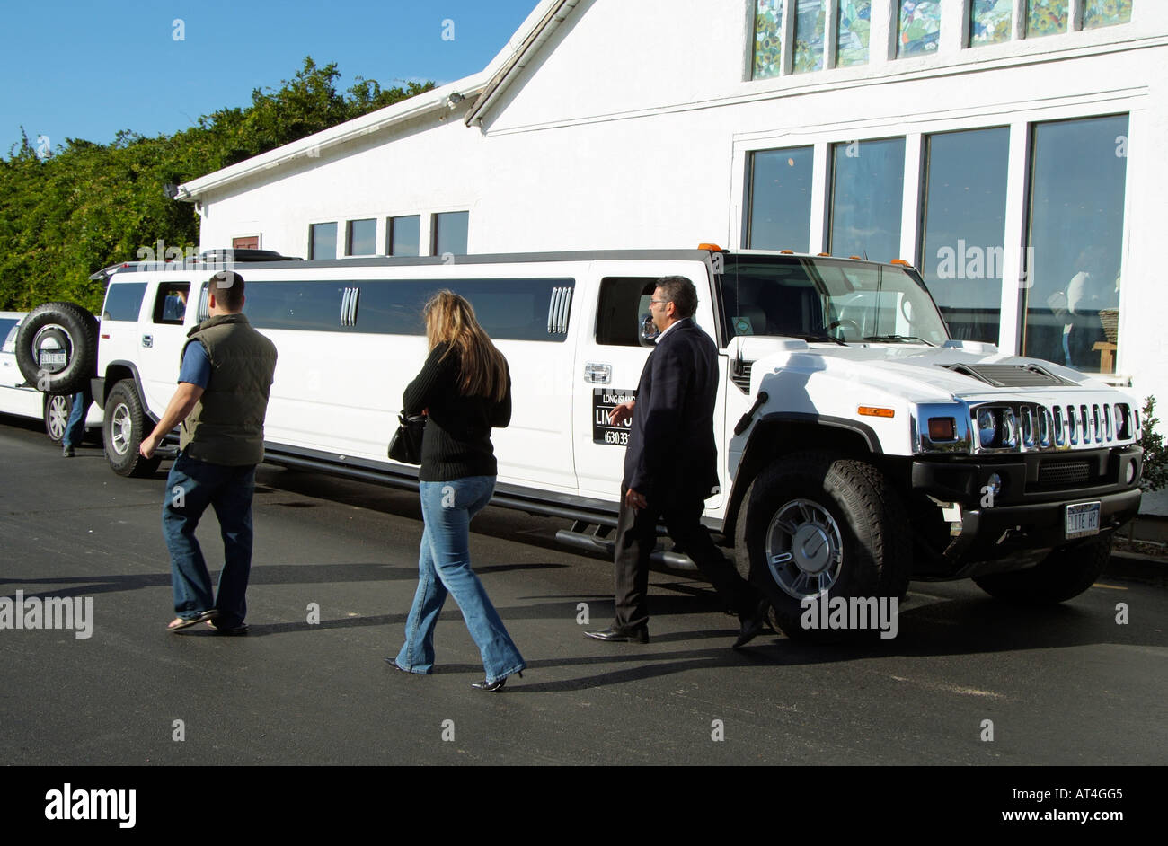 A Stretched Hummer Limo Made By General Motors USA Seen Here On - Pink hummer limo long island