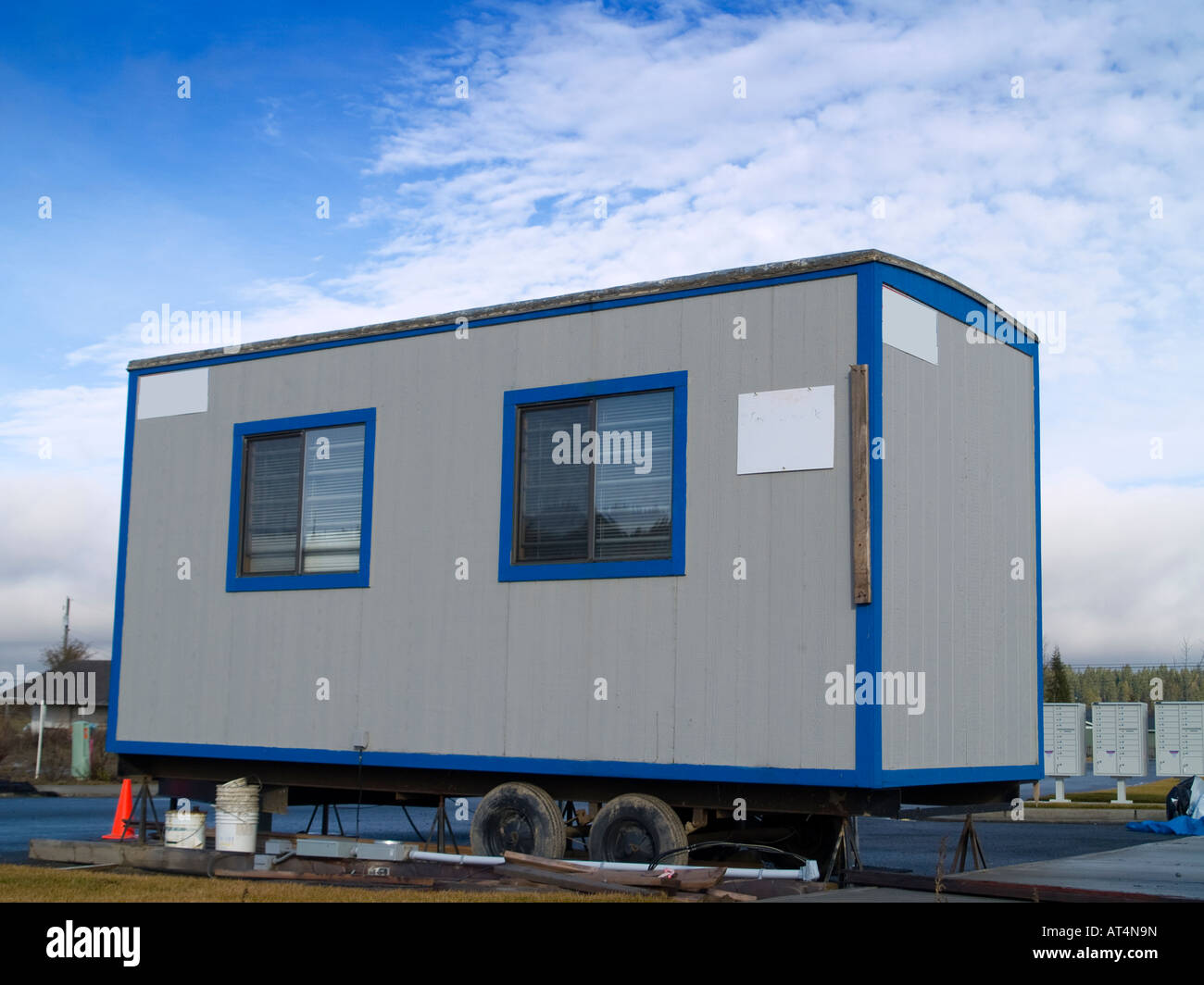 sunny day home office. A Small Portable Office On Wheels At Construction Site Warm Sunny Day Home ,