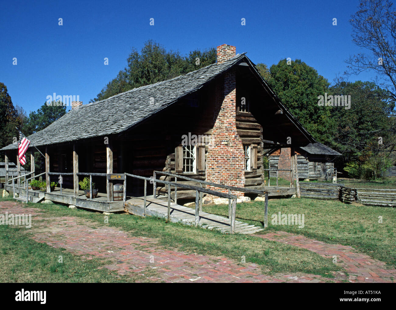 The Historic Huffman Cabin Built In 1840 Mississippi Stock