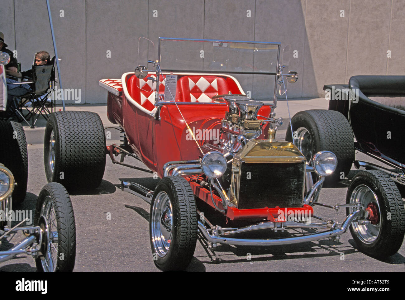 Red and White ford V8 Hot Rod Stock Photo, Royalty Free Image ...